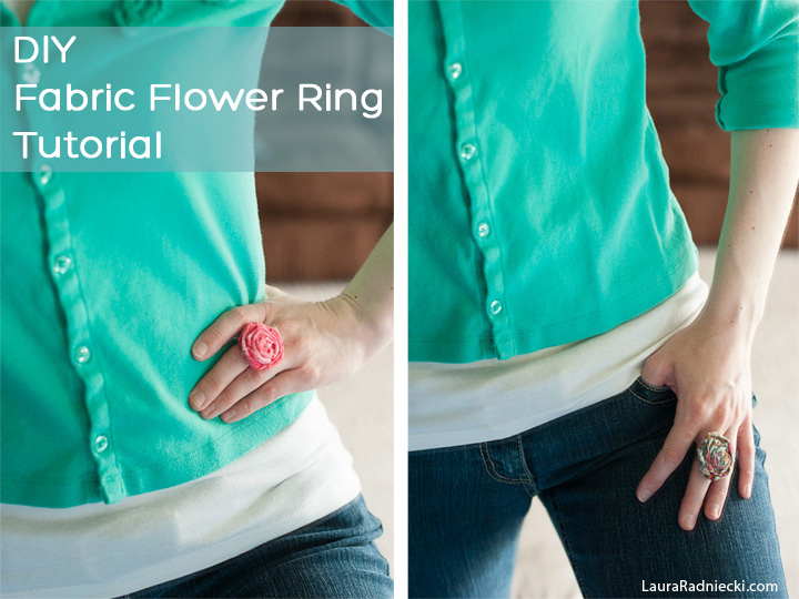 DIY Fabric Flower Ring Tutorial by Laura Radniecki