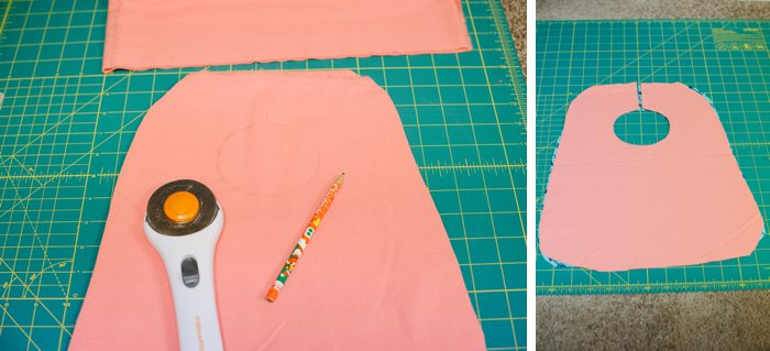 cutting fabric for a bib for baby