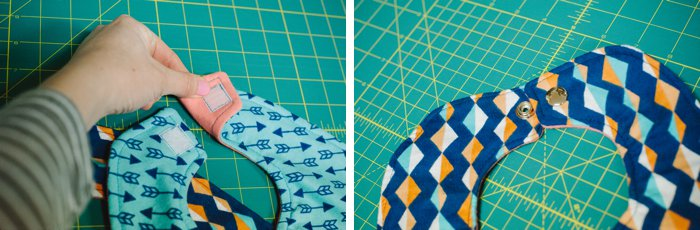 make a baby bib with velcro and snaps