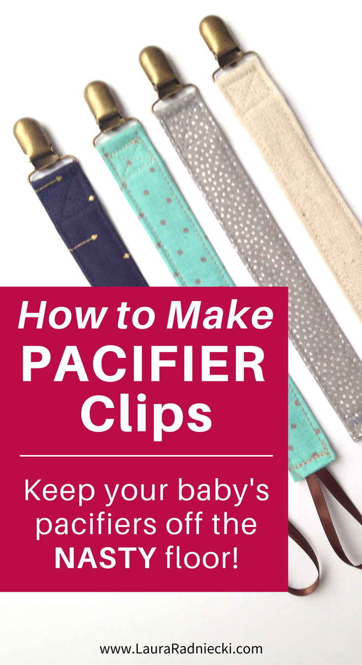 No more baby pacifiers on the floor! A DIY tutorial showing how to make pacifier clips with fabric scraps, ribbon, and cute metal clips.