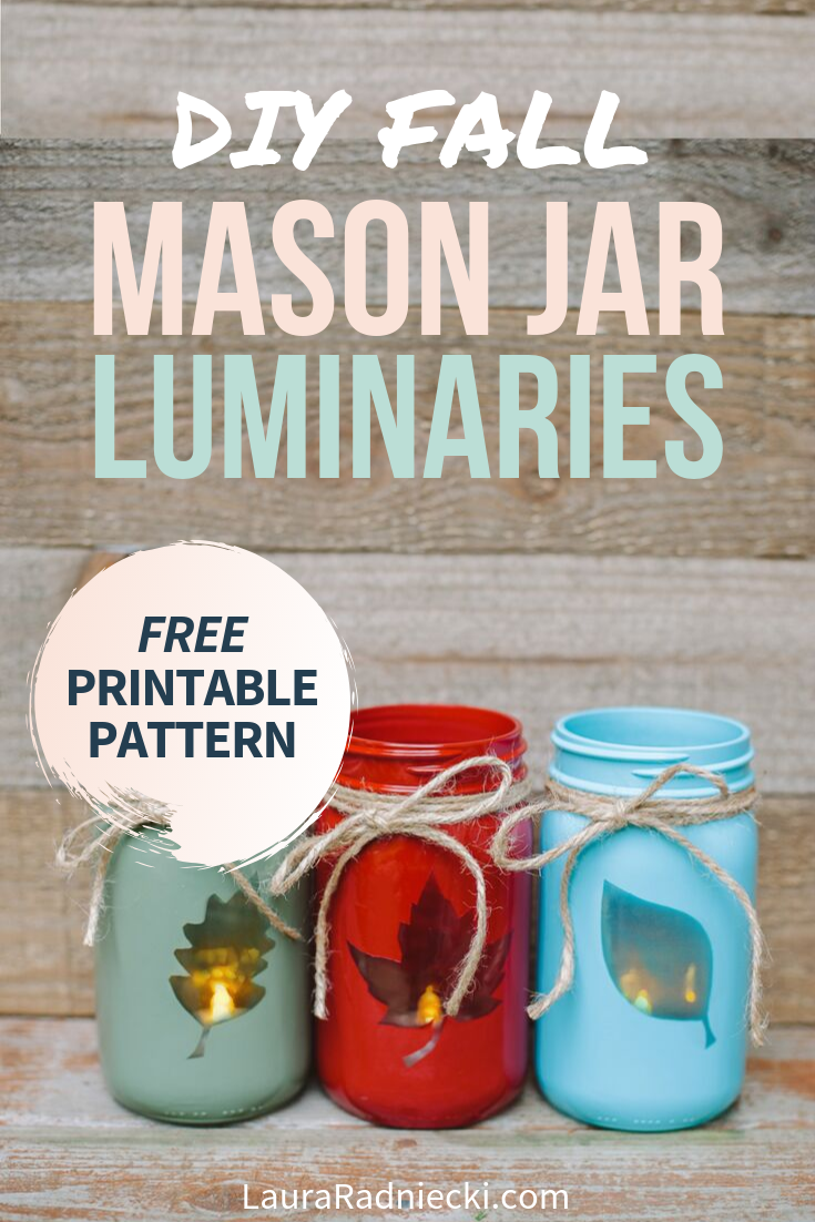 2-in-1 DIY Fall Mason Jars that are reversible; classic on one side, an easy leaf luminary on the other! You\'ll love this easy fall home decor craft, perfect for your mantel or bookshelf! #falldecor #masonjars