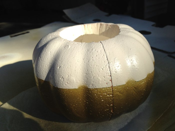 spray paint styrofoam pumpkin