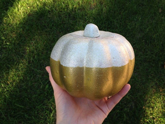 spray paint styrofoam pumpkin from the dollar store for fall decor
