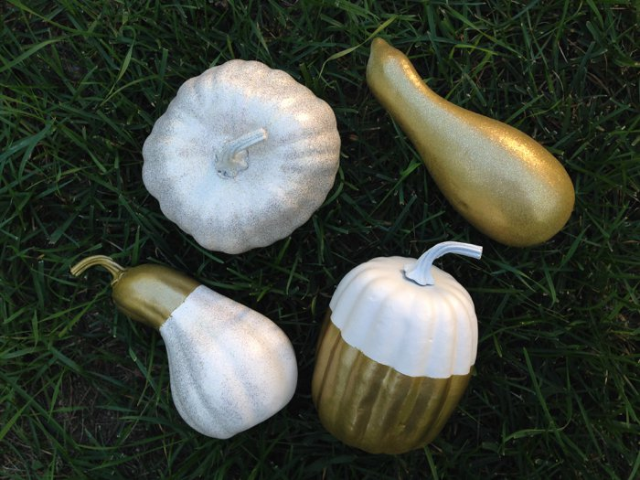 spray painted pumpkins and gourds for fall