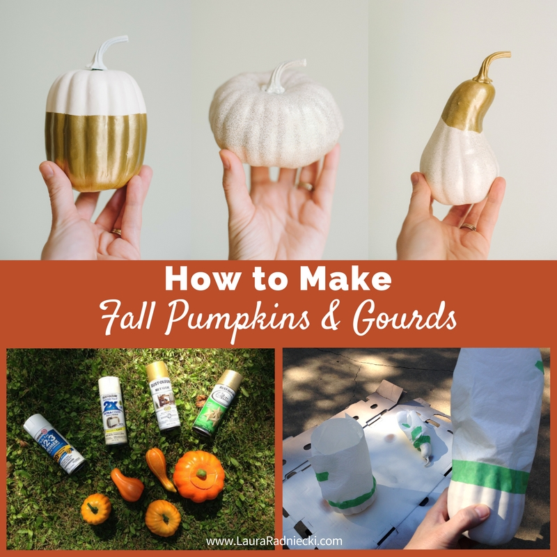 DIY Fall Pumpkins and Gourds - A Tutorial | Dollar Store Gourds and Pumpkin Spray Painted