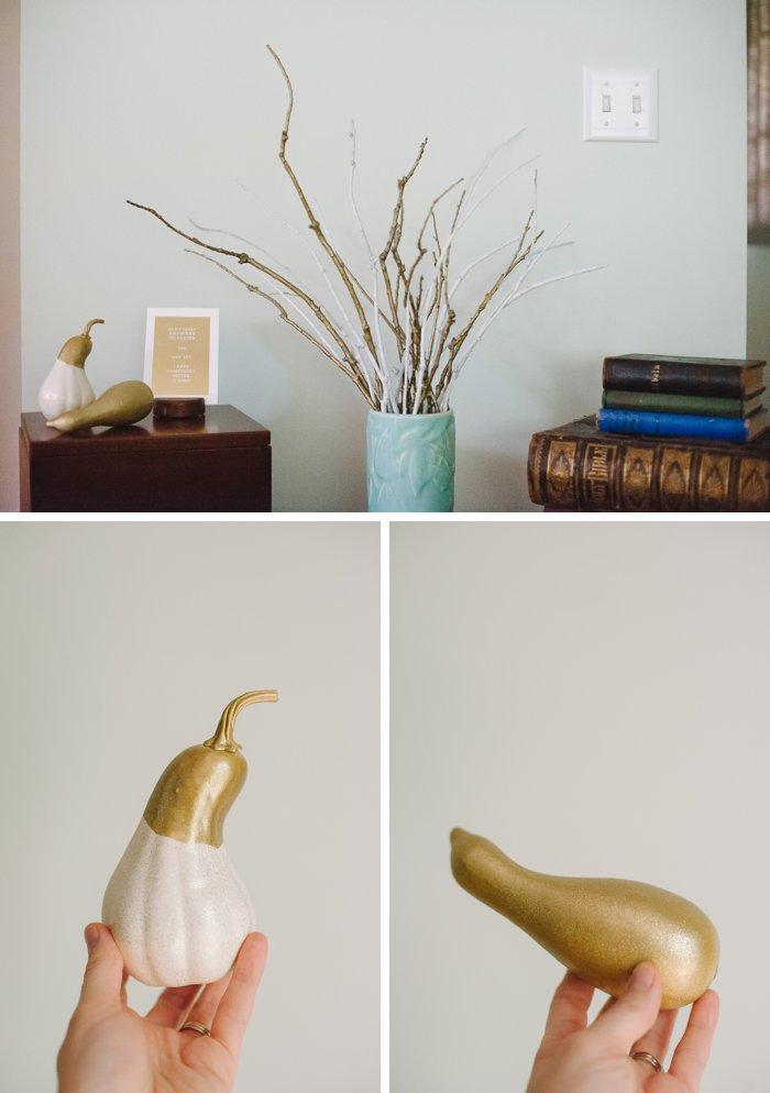 White and gold fall decor idea