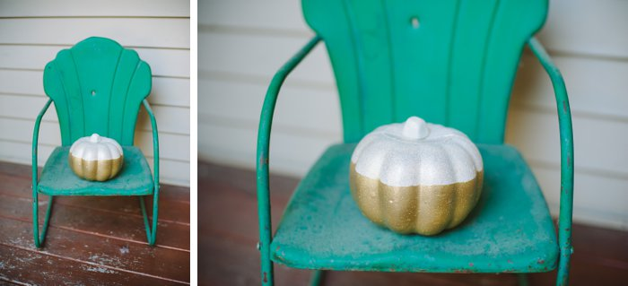 white and gold pumpkin for front porch decoration