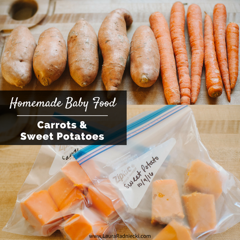 Homemade Baby Food Carrots and Sweet Potatoes