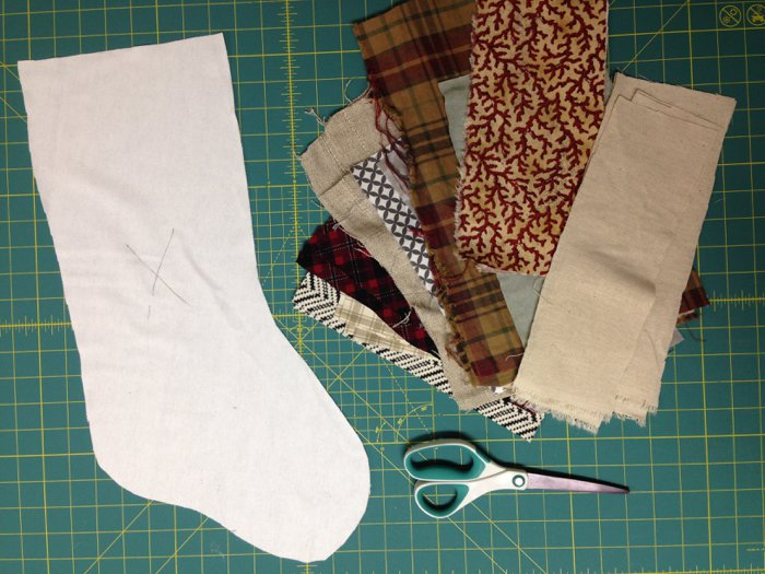 Prepping fabric for DIY stockings for Christmas
