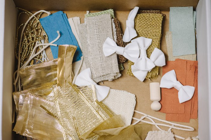 Fabric scraps for homemade nativity scene