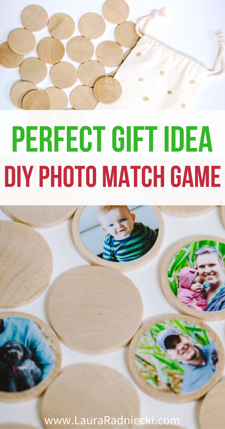How to make a DIY photo memory match game out of photos and wooden circles. It makes an awesome kids gift, and handmade Christmas gift too!