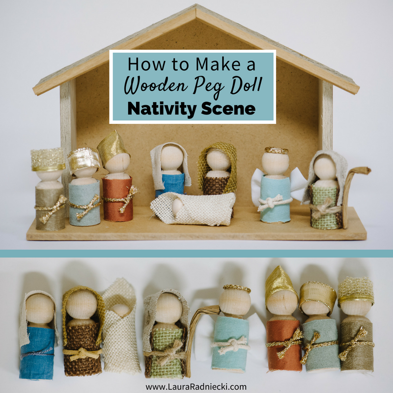 How to Make a Wooden Peg Doll Nativity Set - Kid and Toddler Friendly Nativity Scene Set