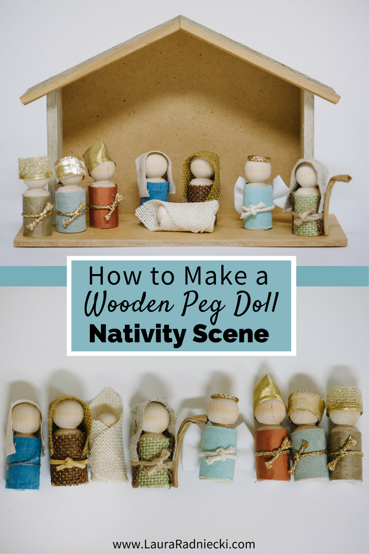 How to Make a Wooden Peg Doll Nativity Set - Kid and Toddler Friendly Nativity Scene Set | wooden pegdoll nativity, pegdolls diy, pegdoll nativity, nativity set diy, nativity scene diy, kid friendly nativity, handmade nativity