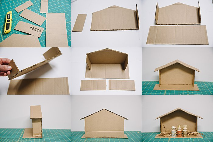 DIY cardboard creche or nativity stable for homemade nativity scene