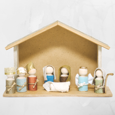 How to Make a Wooden Peg Doll Nativity Set _ Kid and Toddler Friendly Nativity Scene Set