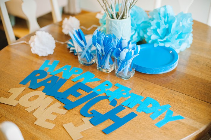 Raleigh's First Birthday | Blue Themed Birthday Party | DIY Pinterest Party Theme | Blue, Green and Gold Decorations | Blue theme party, blue theme birthday party, party theme ideas blue and gold