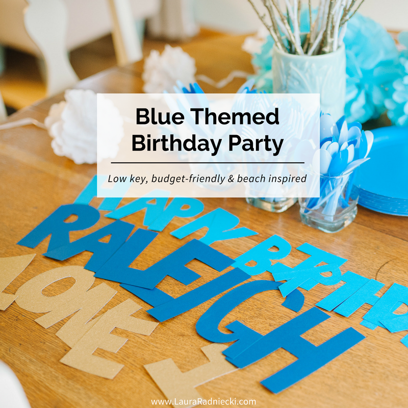 Raleigh's First Birthday - A Blue Themed Birthday Party - Blue, Green and Gold Decorations | Blue theme party, blue theme birthday party, party theme ideas blue and gold