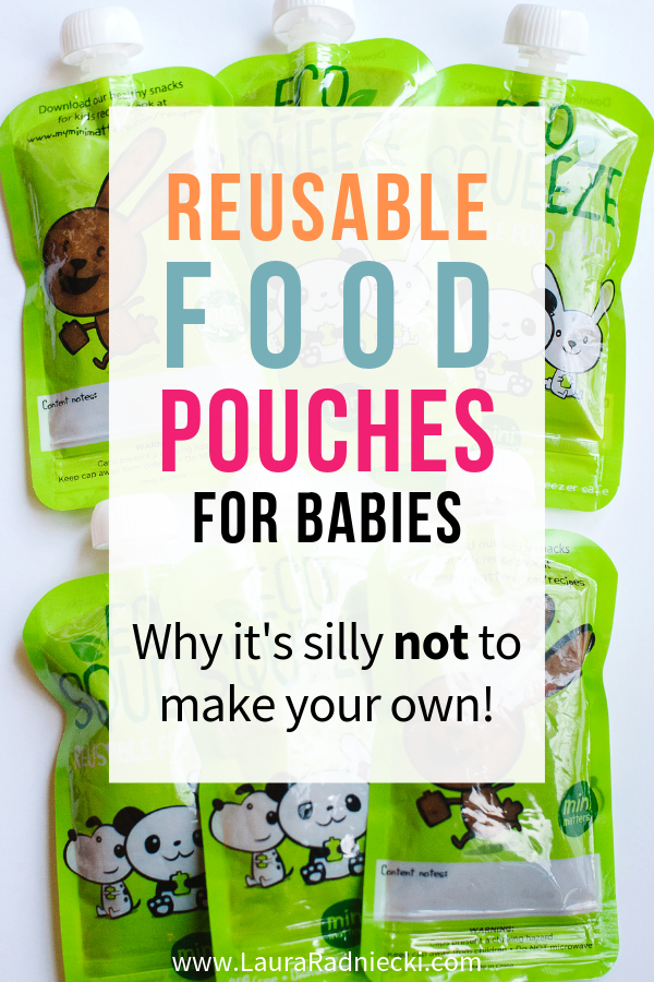 Reusable food pouches for babies are handy, easy and best of all, SO easy to make! A convenient, eco-friendly & economical alternative to store-bought baby food pouches. Here\'s how to make reusable food pouches with homemade baby food purees! #babyfood #babypuree