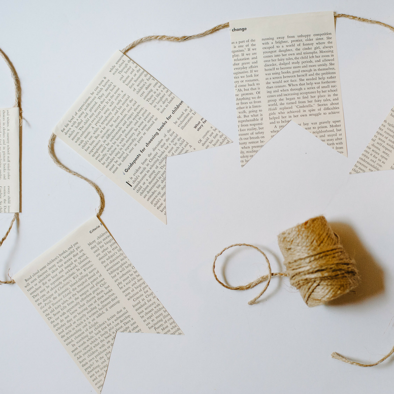 DIY Book Page Bunting | How to Make a Banner from Old Book Pages
