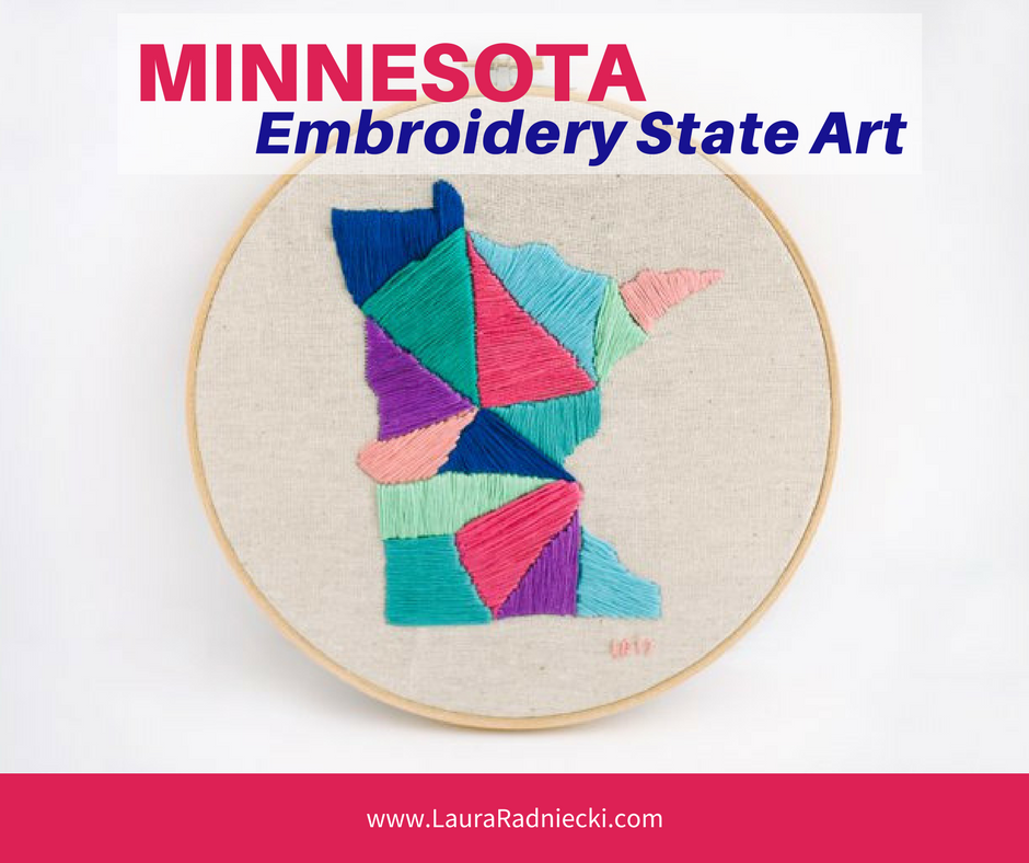 Minnesota State Embroidery Project - Embroidery Art Pattern State Shape