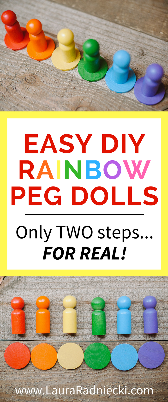 Rainbow Wooden Peg Dolls for Kids - An Easy DIY Tutorial | Kids Crafts, Pegdolls for Kids, Pegdoll Crafts, Wooden Pegdolls, Rainbow Wooden Pegdolls, Rainbow Crafts for Kids, Color Matching Games for Kids #pegdolls #pegdollcrafts #kidscrafts