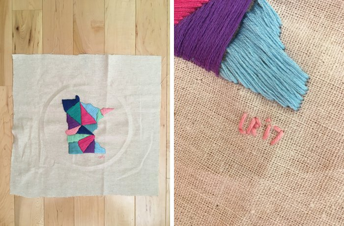 Add your initials and the date to finish your embroidery project