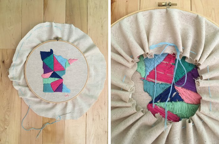 How to finish the back of an embroidery project