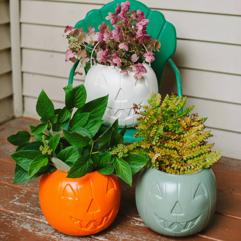 Cheap Fall Porch Decor | DIY Painted $1 Plastic Pumpkins