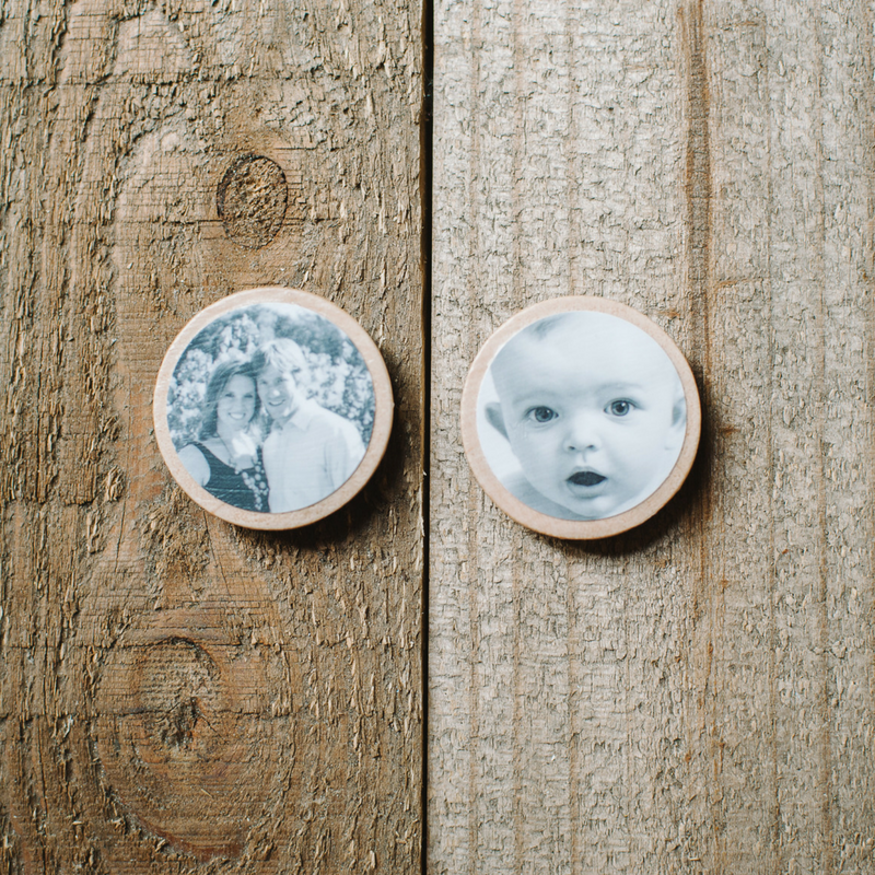 DIY Photo Magnets on Wood Circles with Mod Podge