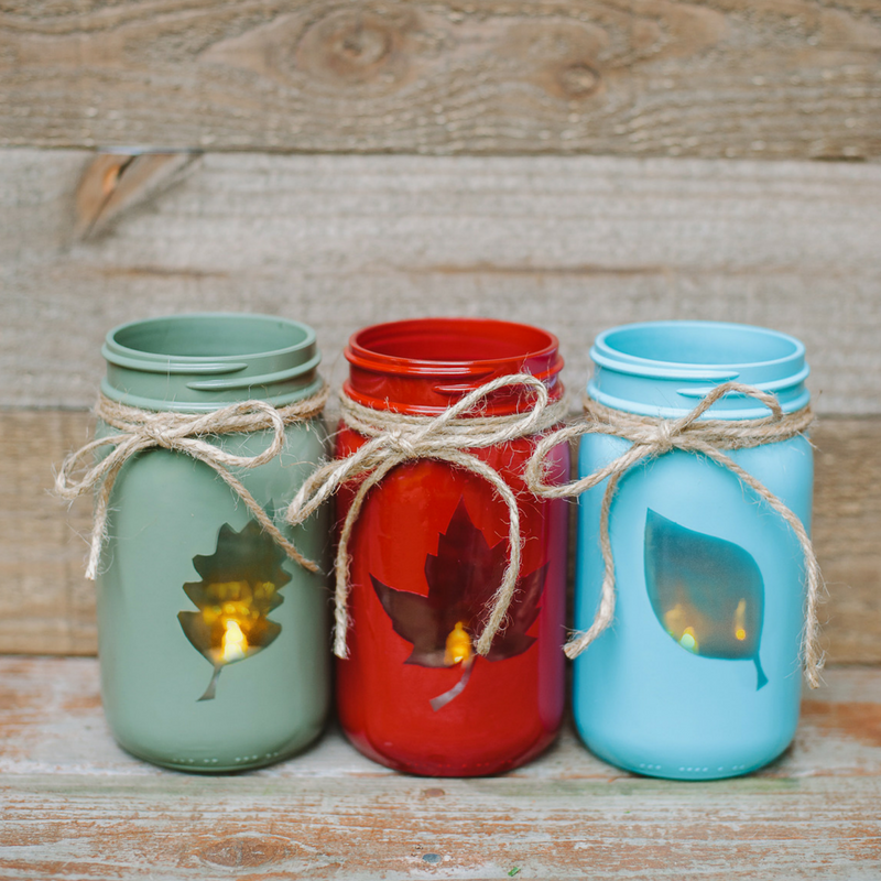 Reversible 2-in-1 DIY Fall Mason Jars | Easy Leaf Luminary