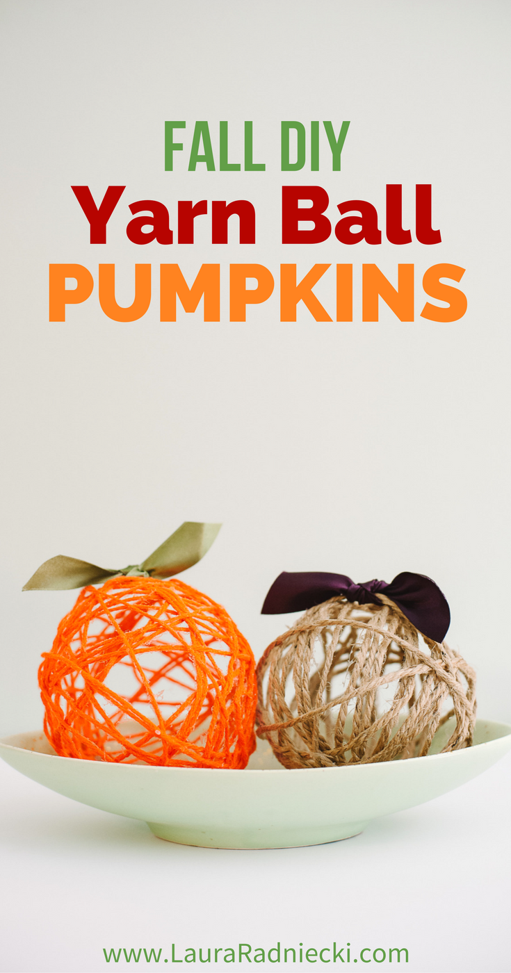Fall DIY Yarn Ball Pumpkins! Yarn balls made with balloons are a fun, easy DIY craft. They can be made into yarn ball pumpkins, which are the perfect Halloween and Thanksgiving decoration for your home this fall!