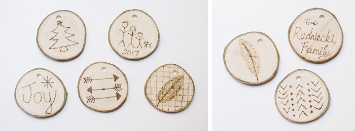 woodburning on wooden tree slices