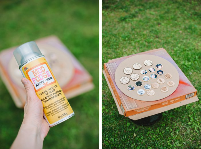 Use clear acrylic sealer to seal wooden discs