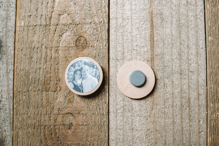 DIY Photo Magnets Made with Mod Podge on Wood Circles