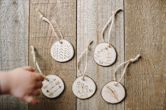Wood Burned Christmas Ornaments on Wood Slices | Woodburned Ornaments for Christmas on Tree Slices