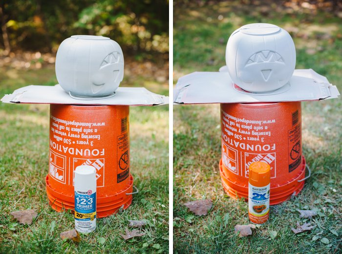 Spray paint plastic pumpkin treat buckets to use as porch decorations