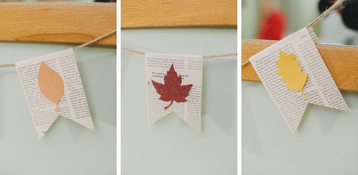 Fall Leaf Garland made with a Book Page Banner | Easy, cheap fall decor ideas | Fall Leaf Banner