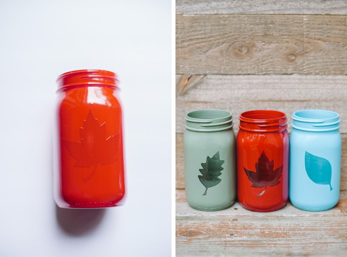 Remove vinyl leaf decal on painted mason jar