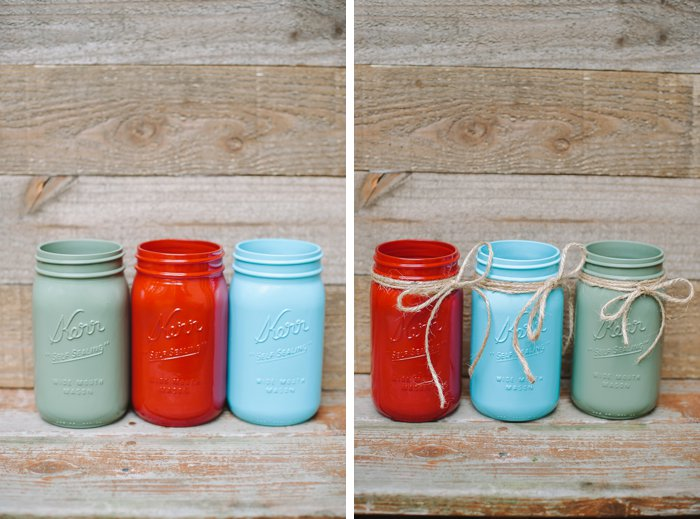 Classic fall decoration idea using painted mason jars and twine