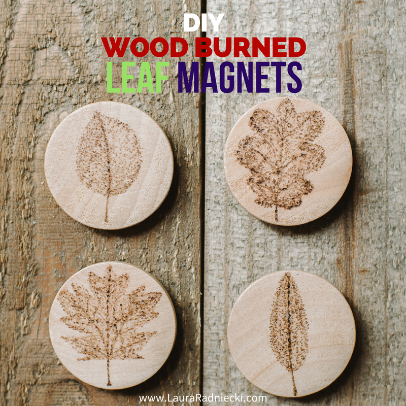 Wood Burned Leaf Magnets On Wood Slices Diy Wood Burned Magnets