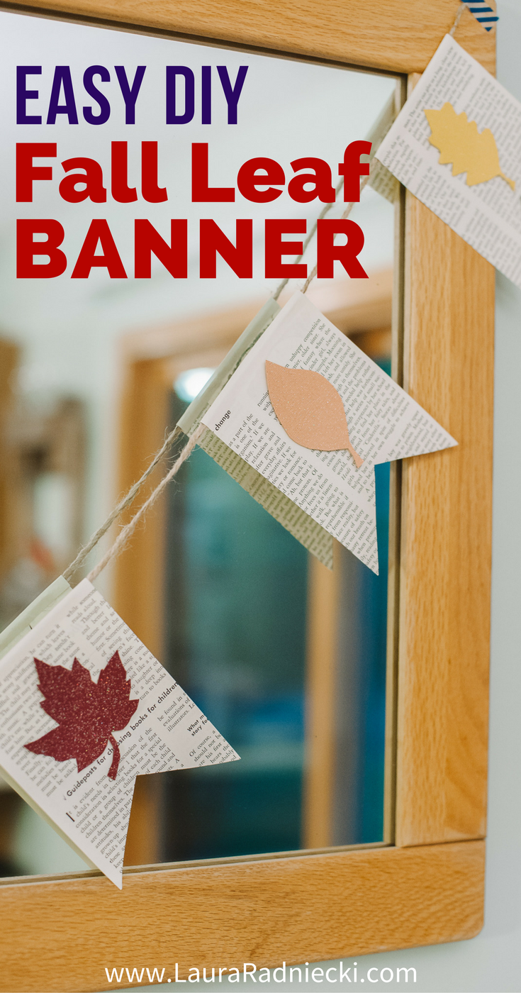How to Make a Fall Leaf Banner with Book Pages - Fall Decor Garland