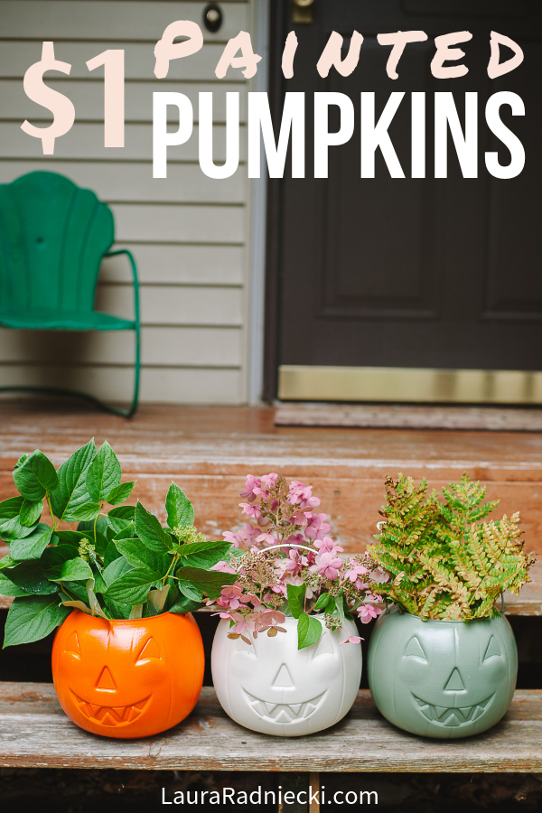 Decorate your front porch on a budget with these painted $1 plastic pumpkins! They are the perfect cheap DIY fall porch decor idea, for both Halloween and Thanksgiving! A little spray paint, a few minutes, and something to fill them with, and your porch is all set for fall! #porchdecor #falldecor