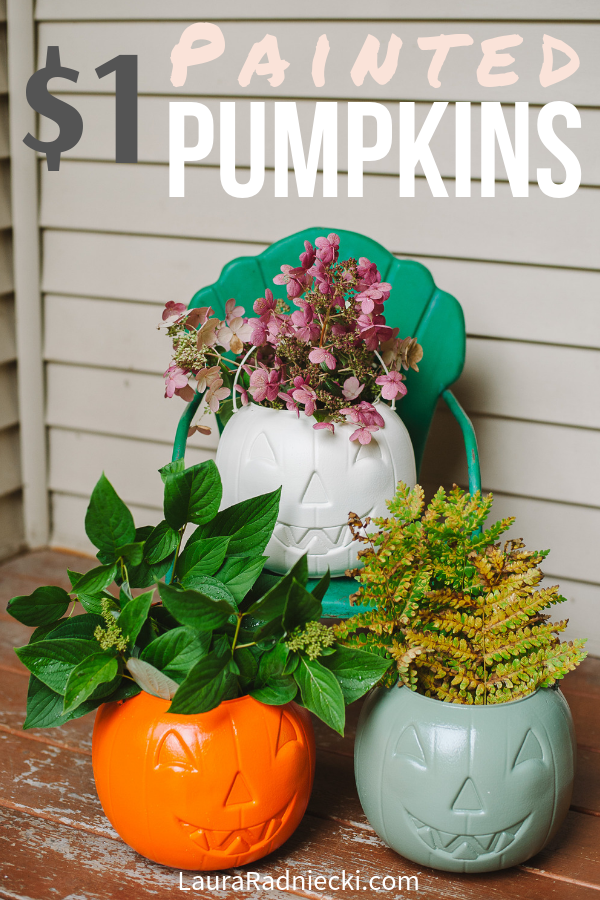 Cheap DIY Fall Porch Decor Idea _ Painted $1 Plastic Pumpkins