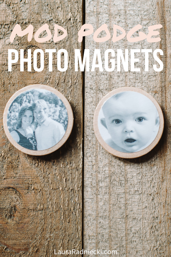 How to make DIY Photo Magnets with Wood Circles and Mod Podge