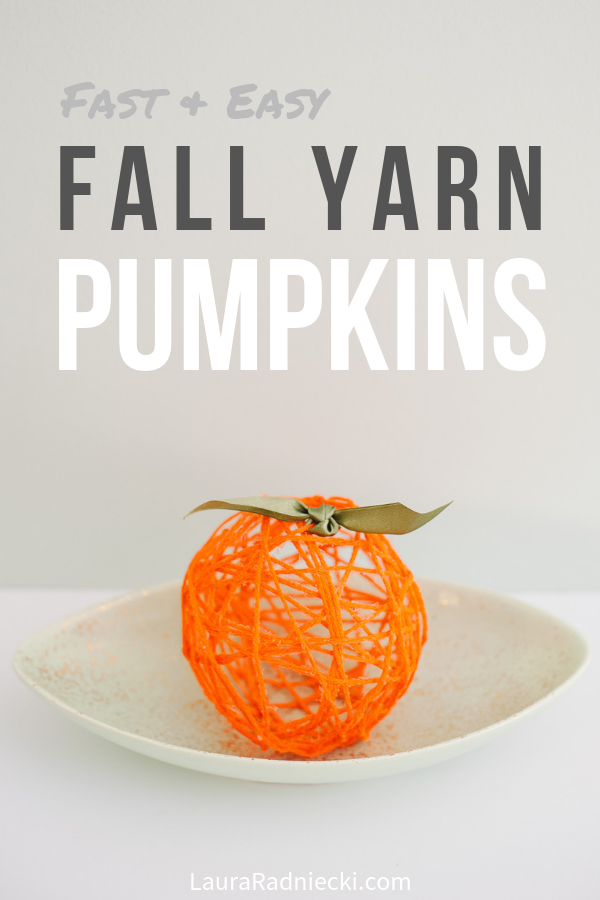 Orange Yarn Ball Pumpkin for Fall Decor