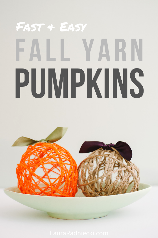 Fall DIY Yarn Ball Pumpkins made with glue and balloons