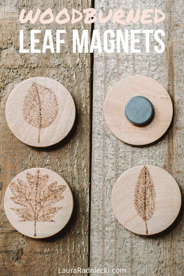 How to make wood burned leaf magnets