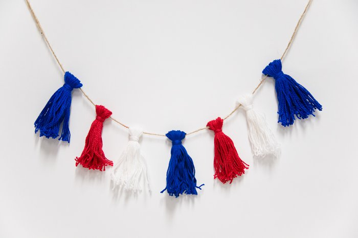 Embroidery Floss Tassel Garland for 4th of July Decor