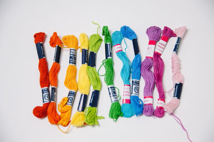 Rainbow colored embroidery floss