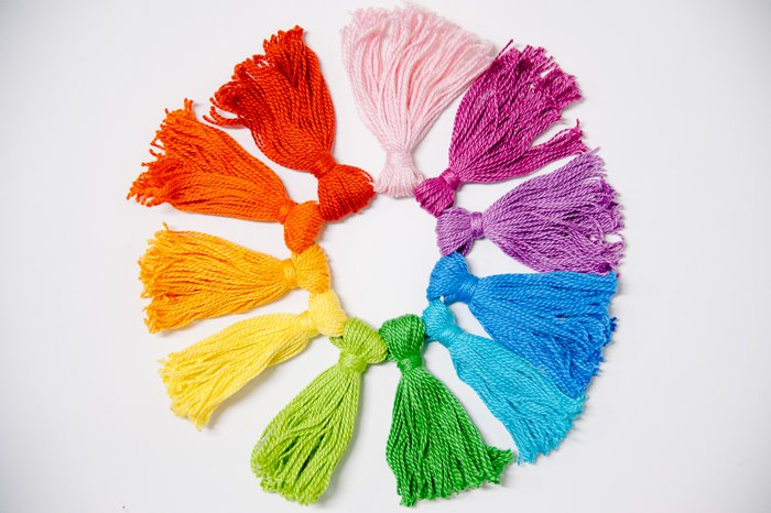 diy rainbow tassels